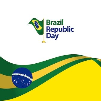 Brasilien-republik-tagesvektor-schablonen-design-illustration