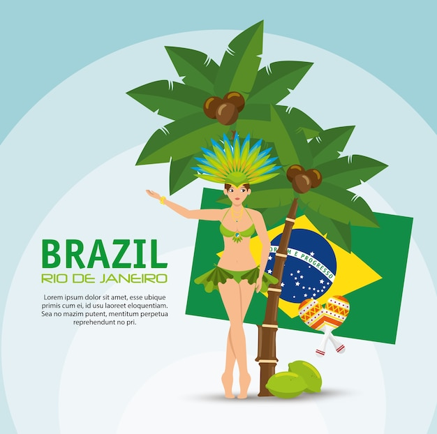 Brasilien rio de janeiro poster garota flagge kokospalme