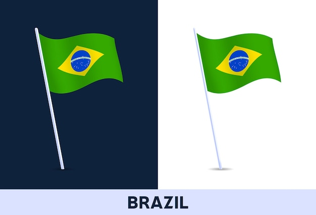 Brasilien-vektor-flagge. waving national flag of italy isoliert auf weißem und dunklem hintergrund. offizielle farben und anteil der flagge. vektor-illustration.