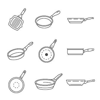 Bratpfanne-icon-set. umrisssatz pfannenpfannevektorikonen