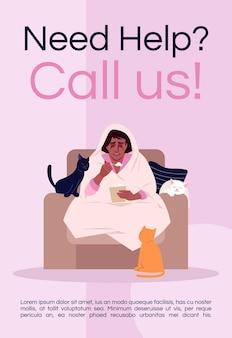 Brauchen sie hilfe, rufen sie uns an postervorlage. frauen unterstützen, kommerzielles flyerdesign zum stressmanagement mit halbflacher illustration. vektor-cartoon-promo-karte. werbeeinladung für psychotherapie