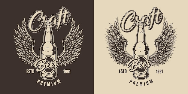 Brauen vintage label im monochromen stil mit glasbierflasche und adlerflügeln aus weizenähren