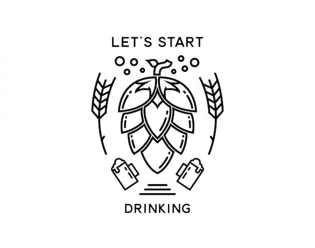 Brauerei-bier, das einfach monoline trinkt