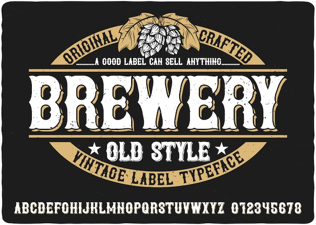 Brauerei vintage schriftzug