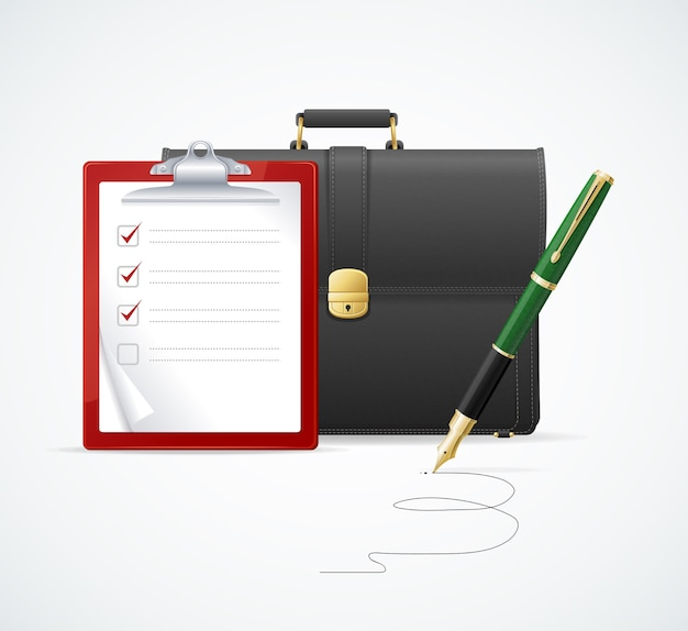 Braune aktentasche, koffer-checkliste und stift lokalisiert auf weißem hintergrund. unternehmenskonzept