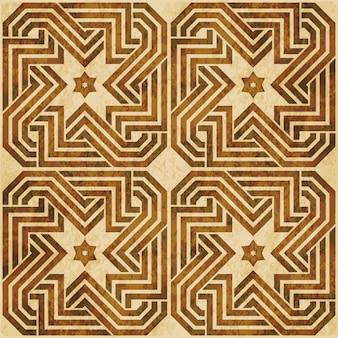 Braune aquarellbeschaffenheit, nahtloses muster, islam polygon spiralsternrahmenkette