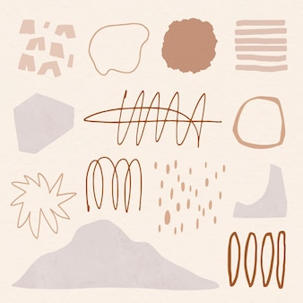 Braune elemente im memphis-stil in erdtönen