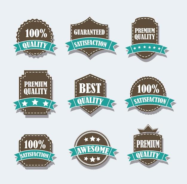 Braune etiketten über grauem hintergrund vektor-illustration