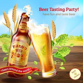 Braune flasche bier, werbungsfahne für bier-verkostungsparty