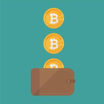 Braune geldbörse mit bitcoin-bargeld. konzept für business, print, websites, zeitschriften, online-shop, finanzen, banken. konzept für verlorenes geld. vektor-illustration