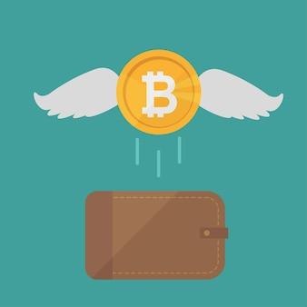 Braune geldbörse mit bitcoin-bargeld. konzept für business, print, websites, zeitschriften, online-shop, finanzen, banken. münzen bitcoin mit fliegenden flügeln. konzept für verlorenes geld. vektor-illustration