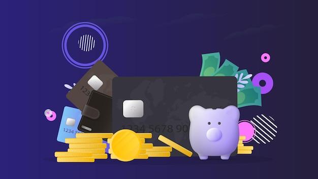 Braune geldbörse mit kreditkarten und goldmünzen. herrengeldbörse mit bankkarten. das konzept des sparens und der ansammlung von geld. gut für präsentationen und artikel zu einem geschäftsthema.