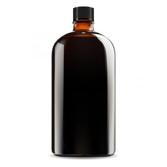 Braune glasflasche. kosmetisches, medizinisches sirupglas