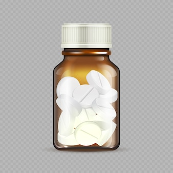 Braune glasflasche mit pillen