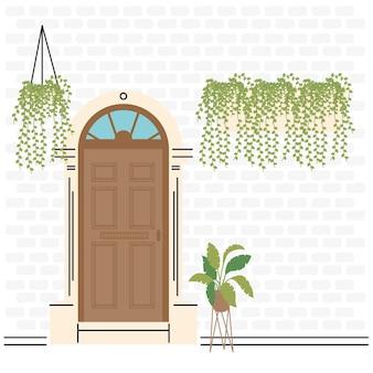 Braune haustür mit pflanzenentwurf, haushaus-eingangsdekorationsgebäudethema vektorillustration