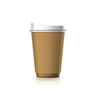Braune kaffee-teetasse aus kraftpapier-kunststoff mit weißem deckel in mittelgroßer schablone.