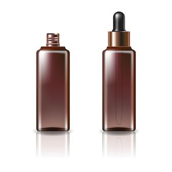 Braune klare kosmetische quadratische flasche mit schwarz-kupfer-tropferdeckelschablone. isoliert auf weißem hintergrund mit reflexionsschatten. gebrauchsfertig für das verpackungsdesign. illustration.