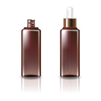 Braune klare kosmetische quadratische flasche mit weißer kupfer-tropferdeckelschablone. isoliert auf weißem hintergrund mit reflexionsschatten. gebrauchsfertig für das verpackungsdesign. illustration.