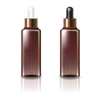 Braune klare quadratische kosmetikflasche mit weißer und schwarzer kupfertropfendeckelschablone. isoliert auf weißem hintergrund mit reflexionsschatten. gebrauchsfertig für das verpackungsdesign. illustration.