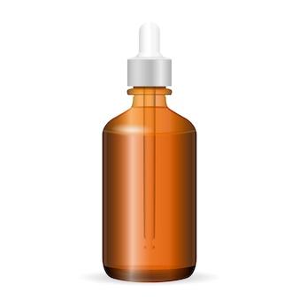 Braune kosmetische glasflasche mit tropfenzähler.