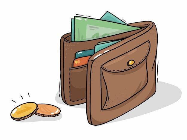 Braune lederbrieftasche mit bargeld