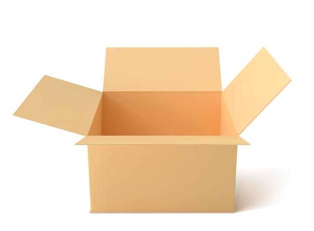 Braune papierbox, leere offene box isoliert.