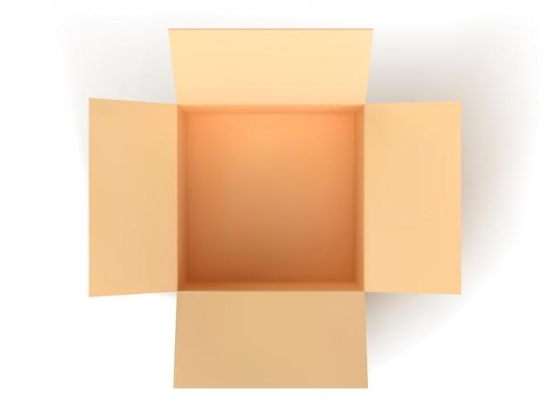 Braune papierbox, leere offene box lokalisiert auf weißem hintergrund.