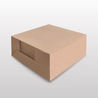 Braune recycelbare papierbox für mockup on white geeignet für verschiedene produkte geschenkboxen, premium-boxen, grüne boxen.