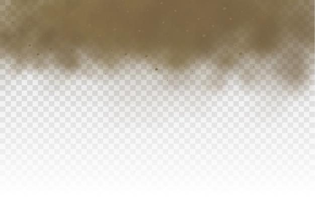 Braune staubige wolke oder trockener sand fliegen mit einem staub des windes, sandsturm. fliegender sand. staubwolke.