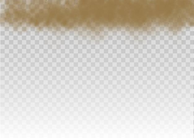 Braune staubige wolke oder trockener sand fliegen mit einem windstoß, sandsturm.