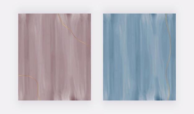 Braune und blaue aquarellbeschaffenheit vektordesignhintergründe