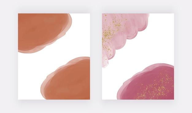 Braune und rosafarbene aquarellhintergründe mit glitzerpunkten für kartenbannereinladungen