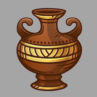 Braune vase mit goldenem muster