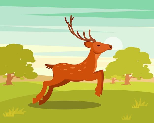 Brauner anmutiger hirsch mit geweih, wildes tier vor dem hintergrund der grünen wiese und der waldillustration