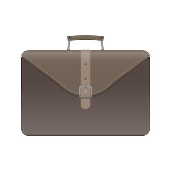 Brauner geschäftskoffer. koffer für dokumente oder laptop. realistischer stil. isoliert. vektor.