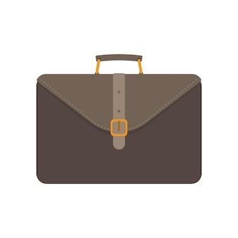 Brauner geschäftskoffer. koffer für dokumente oder laptop. realistischer stil. isoliert.