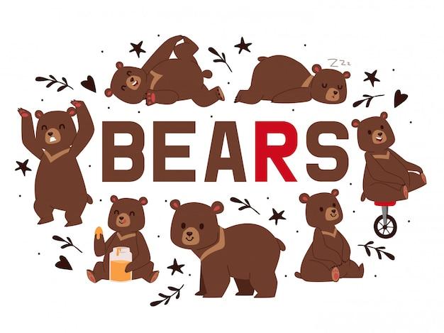 Brauner grizzlybär der karikatur. teddy in verschiedenen posen und aktivitäten