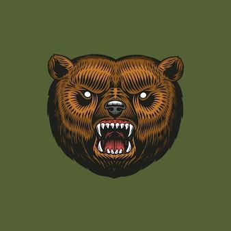 Brauner grizzlybär, wildes tier. vintage monochrome art.
