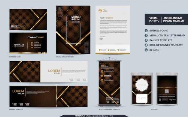 Brauner luxusbriefpapierspott herauf satz und sichtmarkenidentität mit abstrakter überlappung überlagert hintergrund.