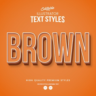 Brauner moderner abstrakter texteffekt bearbeitbarer grafikstil