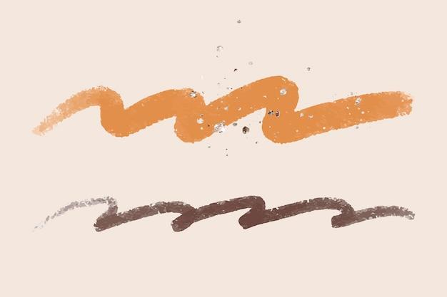 Brauner pinselstrichelementvektor mit glitzer