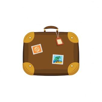 Brauner reisetaschenkoffer mit aufklebern, etikett, etikett auf lokalisiertem weißem hintergrund. sommergepäck. reisekonzept. flache symbolillustration.