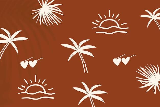 Brauner sommerurlaub hintergrundvektor mit niedlichen gekritzelgrafiken