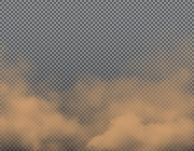 Brauner staub, sand oder schmutzwolken auf transparentem hintergrund