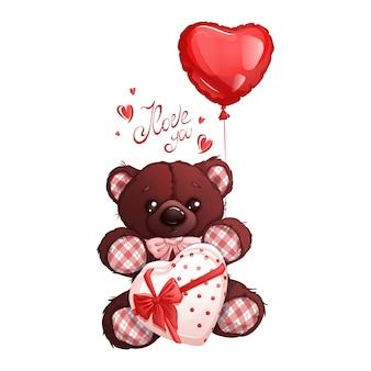 Brauner teddybär mit einer schachtel pralinen, verziert mit einer schleife und einem herzballon. beschriftung inschrift.