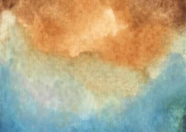 Brauner und blauer abstrakter aquarellbeschaffenheitshintergrund