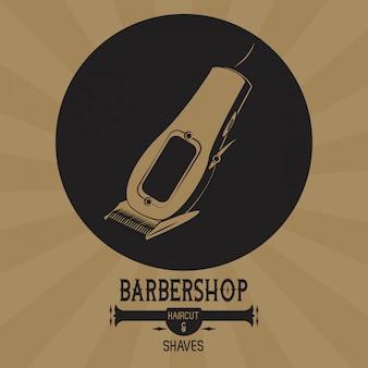 Braunes emblem der barbershop-weinlese