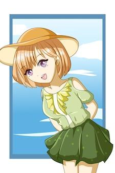 Braunes haar des netten und schönen mädchens mit grünem kleid in der sommerdesigncharakterkarikaturillustration