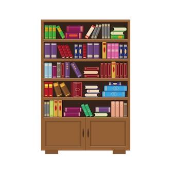 Braunes hölzernes bücherregal mit büchern. illustration für bibliotheks-, bildungs- oder buchhandlungskonzept.