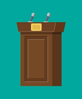 Braunes holzpodest mit mikrofonen zur präsentation. stand, podium für konferenzen, vorträge oder debatten. vektorillustration im flachen stil
